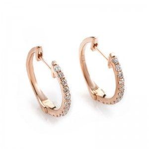 14K Rose Gold Diamond Hoop Earrings AER-9847R