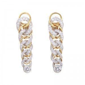 Pomellato 18K Multi-Gold Woven Diamond Earrings