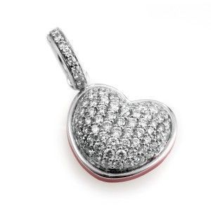 Aaron Basha 18K White Gold Diamond Pave and Mother of Pearl Heart Charm