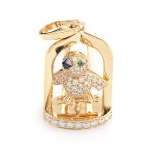 Cartier 18K Yellow Gold Precious Gemstone Birdcage Pendant