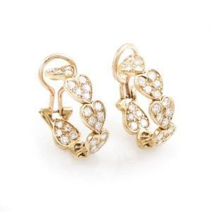Cartier Virgo 18K Rose Gold Diamond Heart Earrings