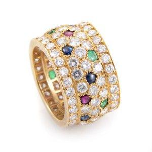 Cartier Nigeria Women's 18K Yellow Gold Multi-Stone Diamond Band Ring