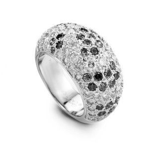 Cartier Sauvage  18K White Gold Black and White Diamond Pave Ring