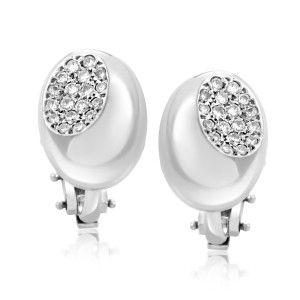 Faraone Mennella Platinum and 18K White Gold Diamond Pave Huggie Earrings