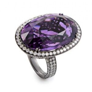Odelia 18K White Gold Amethyst & Diamond Cocktail Ring AN68382