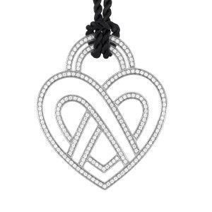 Poiray Large 18K White Gold Diamond Heart Pendant & Black Cord Necklace PPC8952