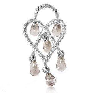 Poiray In Love Heart 18K White Gold & Smoky Quartz Briolettes Pendant PPC9102