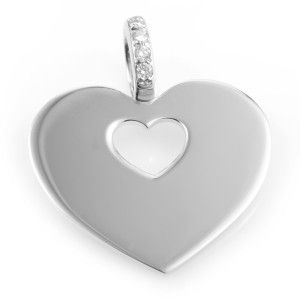 Poiray 18K White Gold Diamond Bail Heart Pendant PPC0265