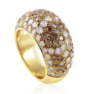 Cartier Sauvage 18K Yellow Gold White and Brown Diamonds Bombe Ring