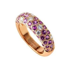 Cartier Mimi 18K Rose Gold Diamond and Pink Sapphire Pave Band Ring