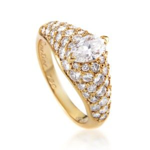 Cartier 18K Yellow Gold ~.60ct Marquise Diamond Engagement Ring