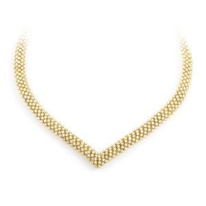 Citra Women's 18K Yellow Gold Full Diamond Pave Collar Necklace CI009