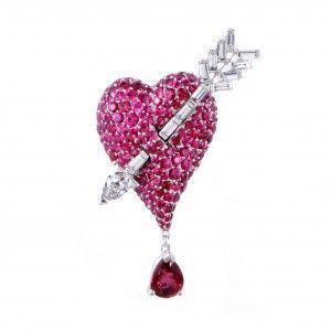 Dior Cupidon Women's 18K White Gold Diamonds, Rubies and Red Spinel Arrow and Heart Brooch
