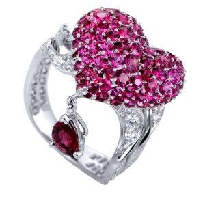 Dior Cupidon 18K White Gold Diamonds, Rubies and Red Spinel Arrow and Heart  Ring