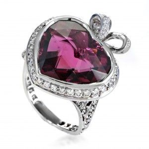 Dior Coeur Romantique Women's 18K White Gold Diamond & Pink Tourmaline Ring