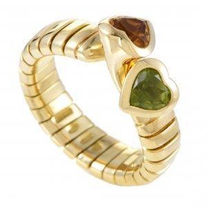 Bvlgari Tubogas 18K Yellow Gold Peridot and Citrine Hearts Bypass Ring