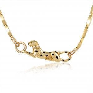 Cartier Panthere Womens Enameled 18K Yellow Gold Diamond and Gemstone Necklace