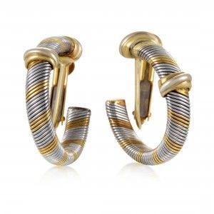 Cartier Vintage 1980's 18K Yellow Gold Stainless Steel Hoop Earrings