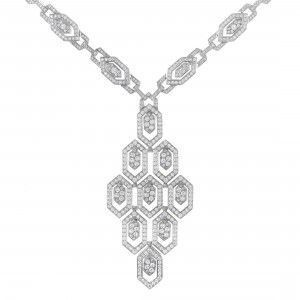 Bvlgari Serpenti Inspirations 18K White Gold Full Diamond Pave Hexagon Pattern Pendant Necklace