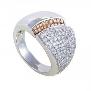 Chimento Desiderio Womens 18K Gold Partial Diamond Pave Band Ring