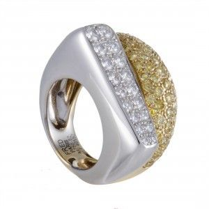 Fred of Paris Success Womens 18K White and Yellow Gold Diamond Pave Ring