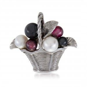 Van Cleef & Arpels Womens 18K White Gold Pearl Tourmaline and Onyx Basket Pin