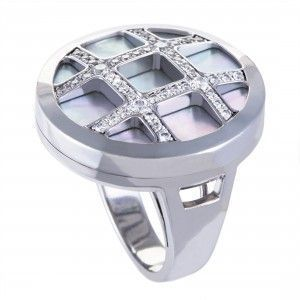 Cartier Pasha Womens 18K White Gold Diamond and Mother of Pearl Cocktail Ring