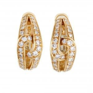 Cartier Womens 18K Yellow Gold Diamond Twisted Huggie Clip On Earrings