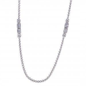 Womens Long 18K White Gold Diamond Strand Necklace