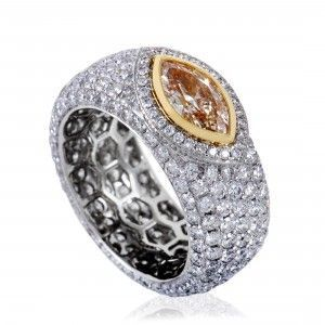 Womens 18K White and Yellow Gold Full Diamond Pave Band Ring