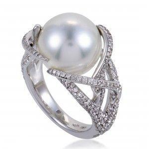 Mikimoto Womens 18K White Gold Diamond Pave 12mm Pearl Ring