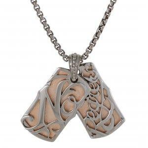 Stephen Webster No Regrets Rose Gold Tone Silver Dog Tags Necklace