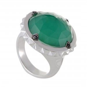 Stephen Webster Superstud Womens Silver Sapphire Chrysoprase and Quartz Ring