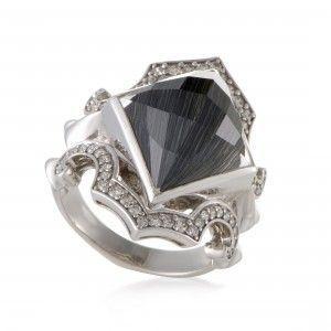 Stephen Webster Superstud Silver Diamond Cat's Eye and Quartz Ring