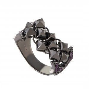 Stephen Webster Superstud Womens Silver and Ruby Pave Band Ring
