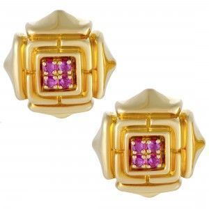 Cartier Womens 18K Yellow Gold Ruby Earrings