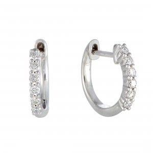 14K White Gold 6 Diamond Hoop Earrings with 0.25 Carat Diamonds