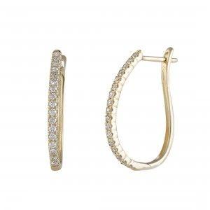 .50ct 14K Yellow Gold Diamond Oval Hoop Earrings