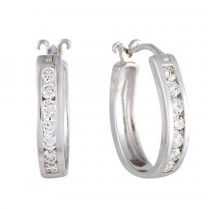 1/2 Carat 14K White Gold Channel Set Diamond Huggies Hoop Earrings (0.5 ctw) Diamonds