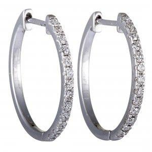 14K White Gold Diamond Round Hoop Earrings