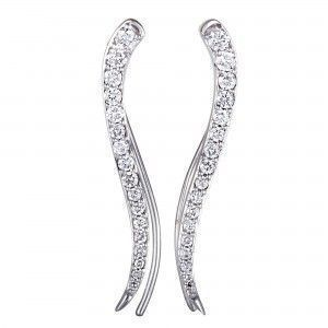 14K White Gold Full Diamond French Wire Earrings
