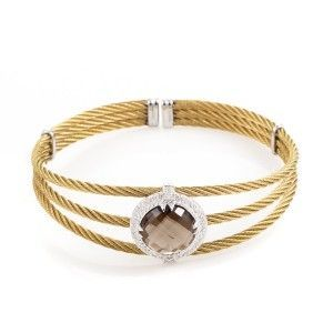 Charriol Celtic Classique Stainless Steel Yellow Gold Plated Diamonds and Smoky Quartz Cable Bangle Bracelet