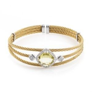 Charriol Celtic Classique Stainless Steel Yellow Gold Plated Diamonds and Lemon Citrine Cable Bangle Bracelet