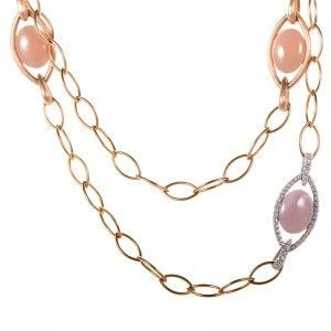 Zydo 18K Multi-Gold Pink Stone and Diamond Necklace