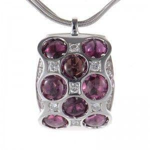 Bibigi 18K White Gold Purple Tourmaline Pendant Necklace