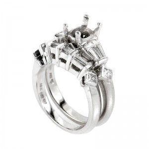 Nili Platinum & 18K White Gold Bridal Mounting Set