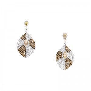 18K Multi-Gold White & Yellow Diamond Pave Drop Earrings CED7999