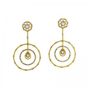 18K Yellow Gold Multi-Diamond Drop Earrings SE1-2992ELZZ