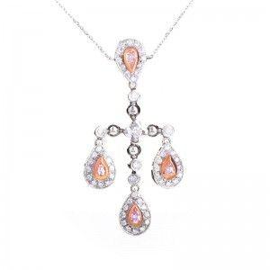 18K White & Rose Gold Diamond Pendant Necklace