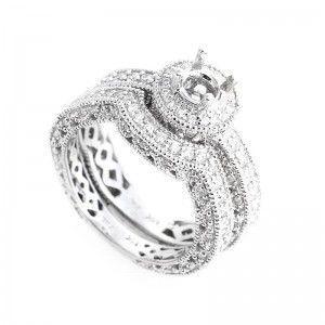 14K White Gold Diamond Bridal Mounting Set CRR6992